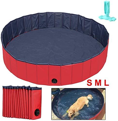 RUN Sommer-Haustier-Katzen-Grooming Badewanne, übergroßer zusammenklappbarer Hund Pool, Hund Pool, Puppy Swimming Tub (mit Hund Zahnbürste),S