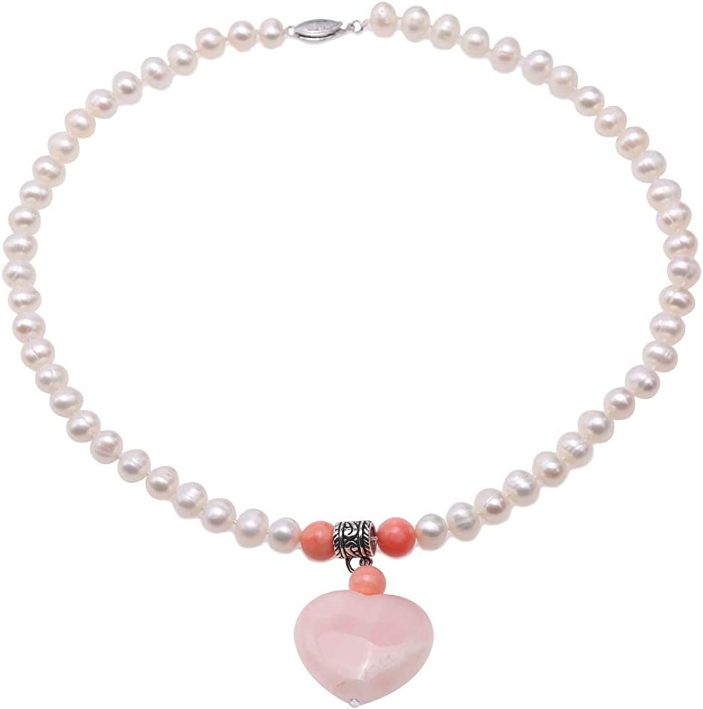 JYX Pearl Necklace 8mm Flat Round White Freshwater Pearls Necklace with a 28×30mm Pink Heart-Shape Crystal Valentine's Day Gift