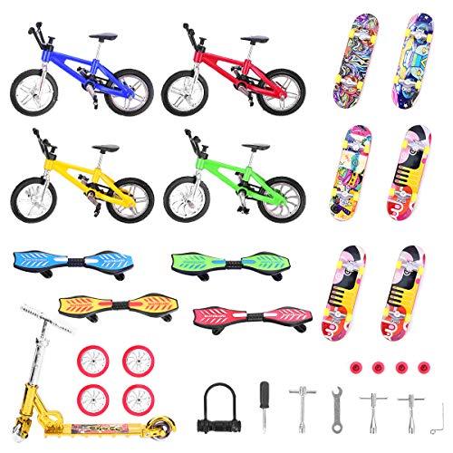 Loscrew Mini Finger Skateboards Finger Bikes Roller Winziges Schaukelbrett Fingerspitzenbewegung Ersatzräder und Werkzeuge Pädagogische Fingerspielzeug Party Gefälligkeiten (30 Stück)