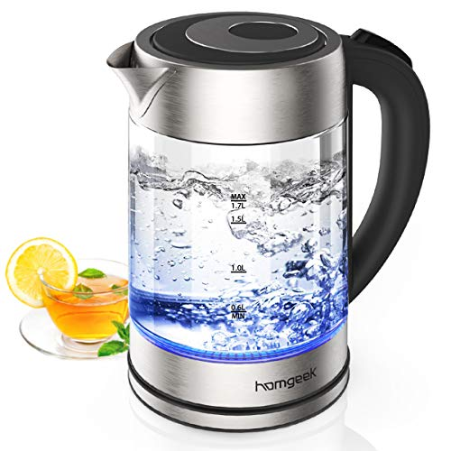 Wasserkocher, Homgeek Wasserkocher Glas Elektrisch 2200W/1.7L, mit LED-Beleuchtung, Auto-off & Trockenlaufschutz, Edelstahl Innendeckel, BPA-frei