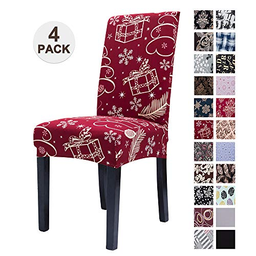 Mecerock Fit Stretch Jacquard Removable Washable Short Dining Chair Covers Christmas Seat Slipcover for Hotel,Dining Room,Ceremony,Banquet Wedding Party(4, SDLW)