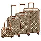 STRATIC Leather & More Koffer-Set 4-teilig Hartschalen-Koffer Trolley Rollkoffer Reisekoffer 4 Rollen TSA-Zahlenschloss (S,M,L, mit Beautycase) Champagne-Gold