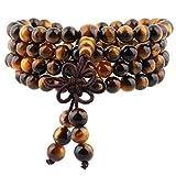 mookaitedecor Tibétain Mala Bracelet 108 Perles Pierres Élastique Collier Bouddhistes Chakra,Oeil de Tigre