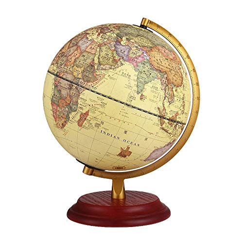 ZXSZX Globe Ornament Vintage HD Student Grote Europese stijl Retro Globe Ornament Schaal Beugel Houten Base Office Studie Woonkamer Decoratie Fortune