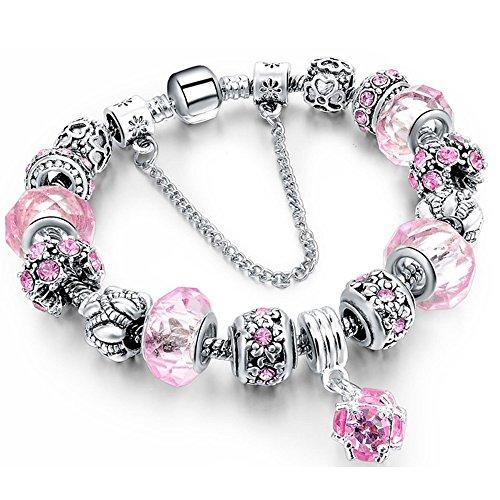 Morenitor Beaded Bracelet Handmade Carved Sterling Silver Plated Snake Chain Charms Bracelet Christmas Gifts for Women Girls, 19.5cm (Pink)