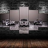 IKDBMUE Enmarcados para Decoración de Pared Coche de Lujo de Super Coche Gris 5 Piezas Pictures Posters Livin Room Paintings Modular