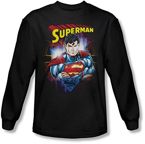 Superman - - Glam manches longues T-shirt pour hommes, Large, Black