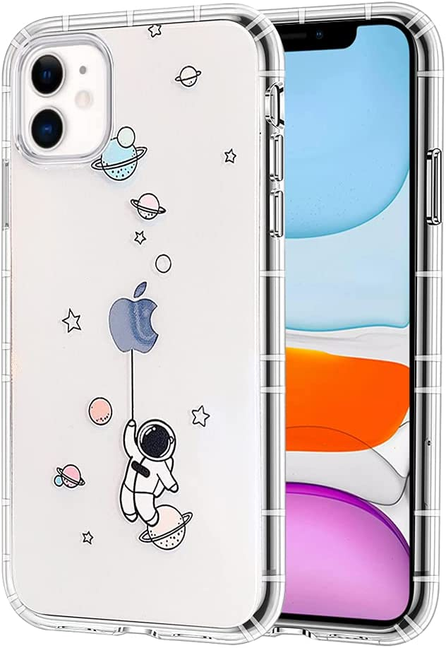 Ownest Compatible with iPhone 12 /iPhone 12 Pro Case for Clear Creative Astronaut Cute Cartoon Pattern for Boys Girls Soft TPU Protective Slim Shockproof Case for iPhone 12/12 Pro-(Balloon 3)