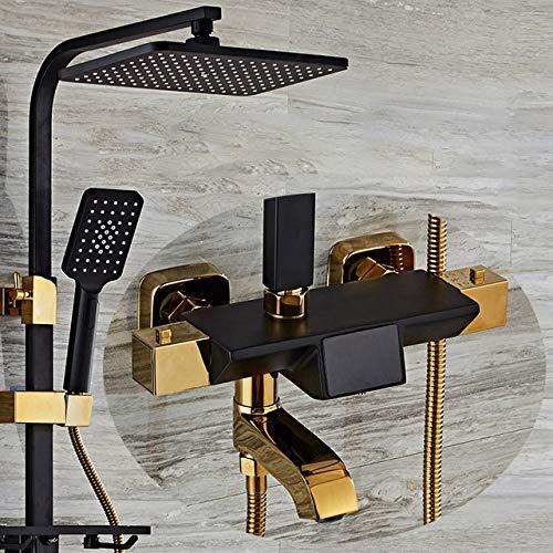 SJIUH Juego de Ducha Juego de Mezclador de Ducha termostático Sistema de Ducha de baño Digital de Oro Negro Cabezal de Ducha de Lluvia Juego de Ducha de baño termostático, B1, sin, bidé