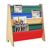 Keinode Bookcase Wooden Kids Book Shelf Sling Storage Rack Organizer Bookcase Display
