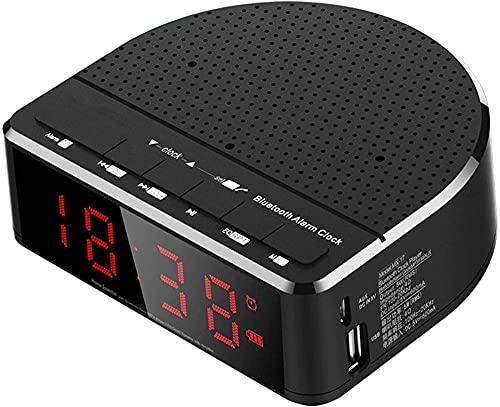 TUIHJA Reloj Despertador Digital, Reloj Despertador con Radio FM, Reloj Despertador con Altavoz Bluetooth, Puerto USB Recargable, Brillo Ajustable, Atenuador AutomáTico