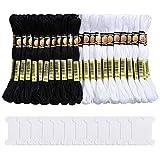 Pllieay Lot de 96 écheveaux de fil à broder en coton pour point de croix ou bracelets d'amitié avec 12 bobines pour tricot