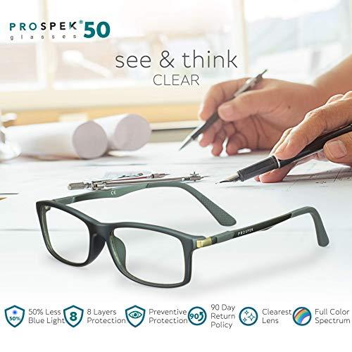PROSPEK - Gafas para ordenador Premium – Dynamic – Con filtro de luz azul y antirreflejante (+0.00 Dioptrías | Gris | Grande)