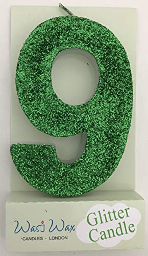 """Wasiwax 3.25in Large Ultra Sparkle Green Glitter Birthday Number 9 Candle - Cake Topper - 8.3cm (3.25"""") - Choose Other Numbers 0-9 and Colours from Our Range - No 9"""