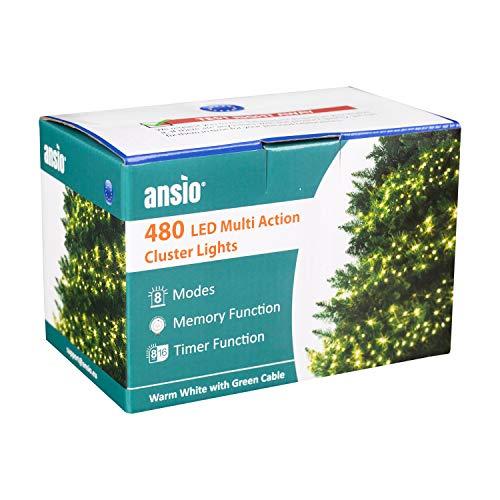 ANSIO Weihnachtsbeleuchtung 480 LED 6m Warmweiß Außen Cluster Baumbeleuchtung String Innenlichterkette Memory Timer Netzbetrieben Beleuchtet Länge 10m Dachrinne Grünes Kabel