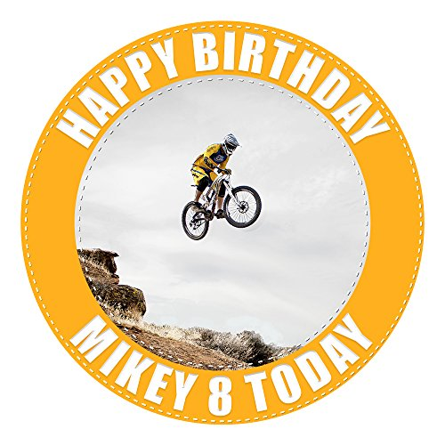 Mountain Biking Cake Topper 7.5 Inch Personalised Edible on Icing Sheet with HI-RES Image