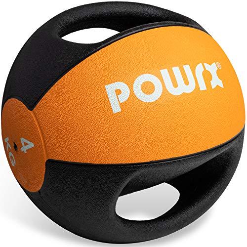 POWRX Balón Medicinal con Asas 4 kg - Ideal para Ejercicios de »Functional Fitness«, fortalecimiento Muscular y rehabilitación + PDF Workout (Orange)