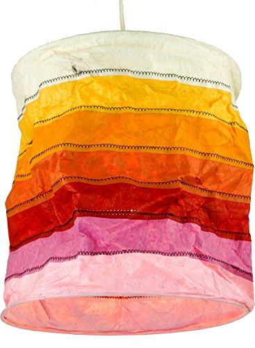 Guru-Shop Runde Papier Hängelampe, Lokta Papierlampenschirm Annapurna Stripes, Handgeschöpftes Papier - Orange, Lokta-Papier, 30x28x28 cm, Asiatische Deckenlampen aus Papier & Stoff