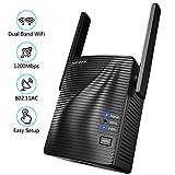 Ripetitore WiFi – AC1200 WiFi Extender Dual Band 5GHz/2.4GHz con Access Point/Gigabit Ethernet/WPS, Ripetitore Segnale WiFi Copertura a 200㎡, Adatto Tutto Router come Fibra/ADSL, Facile da Installare