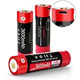 3.7V Flat Top Batteries USB Rechargeable Battery 3600mAh for Klarus Flashlight (XT11X, E1, XT11GT) (2-Pack)