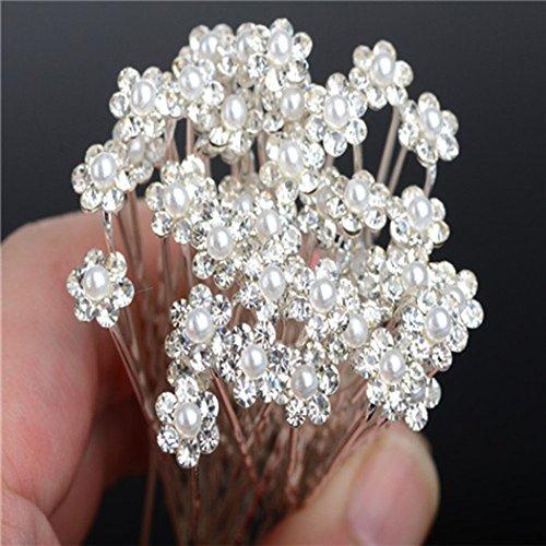 Miaoo, forcine per capelli, con decorazione a forma di fiore, con strass e perle, accessorio perfetto da indossare tutti i giorni, 40 pezzi