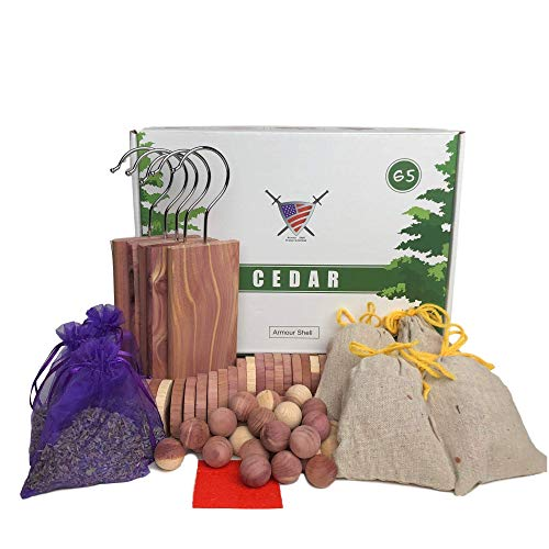 Moth Repellant for Clothes (65 Pack) - Cedar Hangers, Rings, Balls, Sachets and Dried Lavender Flower Sachets. Premium Quality USA Wood for Closet/Drawers, Protect Clothing with Home Fragrance to Love