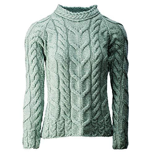 Carraig Donn Ladies Irish Multi Cabled Raglan Super Soft Merino Wool Sweater (Medium, Sea Foam Green)