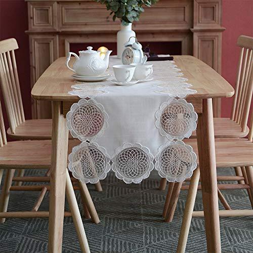 ARTABLE Exquisito camino de mesa de encaje de cuerda blanca bordada, estilo europeo, poliéster, ideal para bodas y cenas, color blanco, 40 x 140 cm