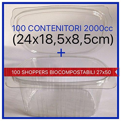 100 VASCHETTE CONTENITORI PER ALIMENTI USA E GETTA (VASCHETTE MONOUSO) CON COPERCHIO IN PET CLASSE 1 +100 shoppers biocompostabili 27x50 COMPRESE (2000cc)