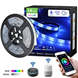 LE LED Strip Light APP Controlled, WiFi Smart Waterproof LED Light Strip Works with Alexa, Google Home, 16.4ft Daylight White and Color Changing Tape Light for Bedroom, Party and Home Decoration
