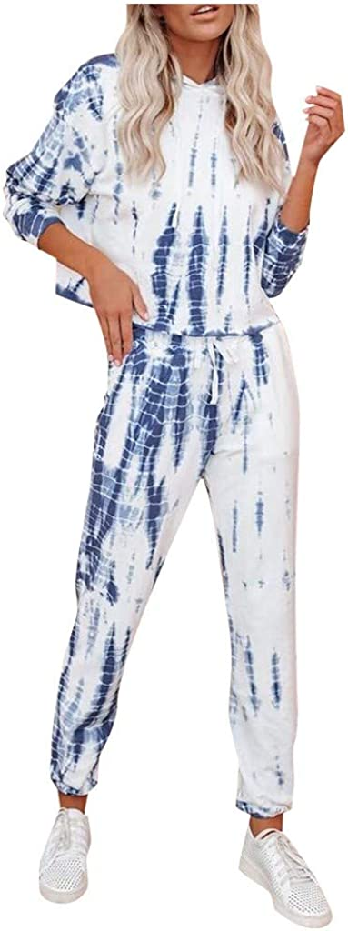 Forwelly Two Piece Outfits for Women Tie Dye Pant Suit Long Sleeve Crop Hoodies Drawstring Sweatpant Workout Tracksuit