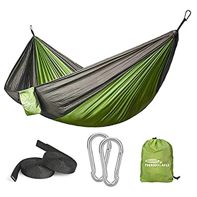 Forbidden Road Swing Camping Hammock 210D Nylon with Straps (Green/Grey, Single)