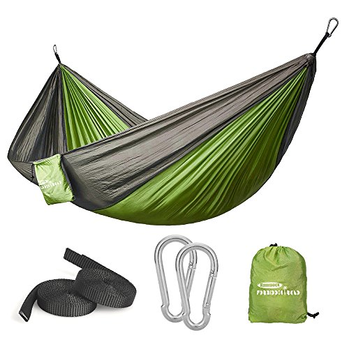 Forbidden Road Hammock Single Camping Portable Parachute Hammock for Outdoor Hiking Travel Backpacking - 210D Nylon Taffeta Hammock Swing - Support 400lbs Ropes Carabiners Included