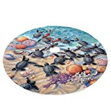 Watercolor Turtles on The Beach Christmas Tree Skirt, one Size Xmas Tree Skirt for Christmas Decorations Indoor Outdoor