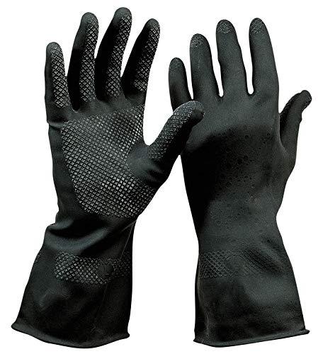 HandschuhMan. Schwarze Gummihandschuhe aus Neopren, lebensmittelgeeignet, Chemikalienbeständig (7/S)