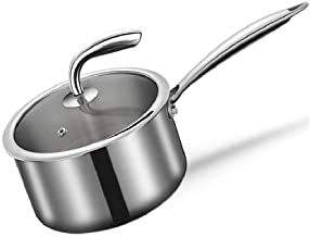 XZJJZ Stainless Steel Pan with Glass Lid, Multipurpose Sauce Pan with Lid, Sauce Pot,Milk Pan Nonstick Cookware