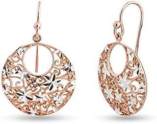 LeCalla Sterling Silver Jewelry Turkish Diamond Cut Filigree Dangle Earrings Ear Wire for Women