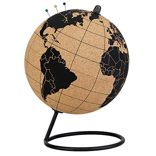 Mini Cork Globe - 5.7 Inches Desktop World Globe - Educational World Map - Spin Easy - with Push Pins - Handmade for Home Office Classroom
