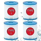 Confezione da 4 filtri per piscina Bestway Size I, cartuccia di ricambio per filtro piscina, lavabile, per piscina da 1249 litri, per la pulizia della piscina