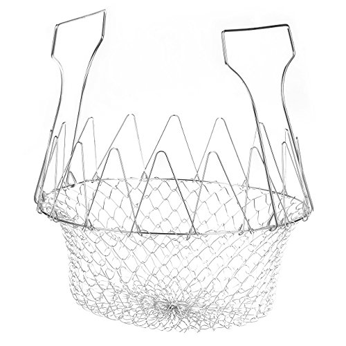Deep Fry Basket - Stainless Steel Foldable Strainer Basket Colander - Cooking Basket for Frying, Steaming, Straining, Rinsing, 9 x 3.35 x 9 Inches