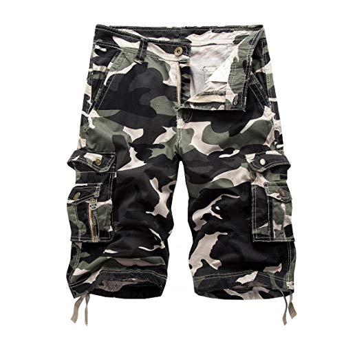 Inlefen Été Camouflage Multi-Poches Cargo Coton Shorts de Travail Hommes Loisirs Pantalons Courts de Plage en Plein air avec Fermeture à glissière