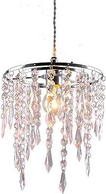 Jing, paralume a 2 livelli in acrilico a forma di goccia, elegante lampadario da soffitto, struttura cromata lucida con gocce gioiello in acrilico rosa, paralume non elettrico, paralume a sospensione LH06-rosa