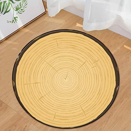 Vloerkleed en onderlegger van houtnerf, rond, tapijt, voor meubels, bureaustoel, tapijt, 3D-groeiboom, badmat, antislip 80CM Ik