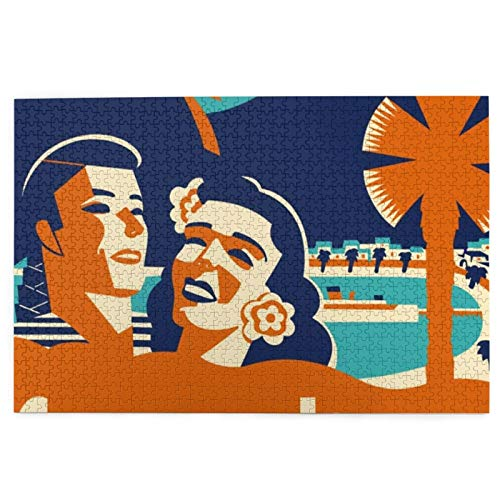 Custom made Vintage Catalina Island Luggage Tag 1000 Piece Jigsaw Puzzle for Adults -Jigsaw Puzzle 1000 Piece Puzzles for Adults