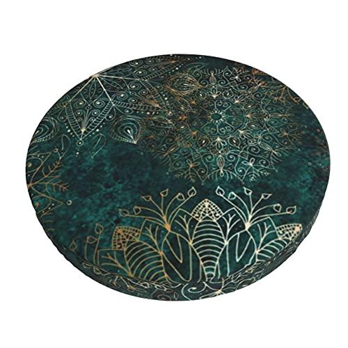 Funda de cojín para silla de bar redonda con diseño de mandala floral, color dorado y verde azulado con funda elástica para taburete para bar, cafetería, hotel, oficina