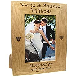 Engraved Oak Wedding Photo Frame
