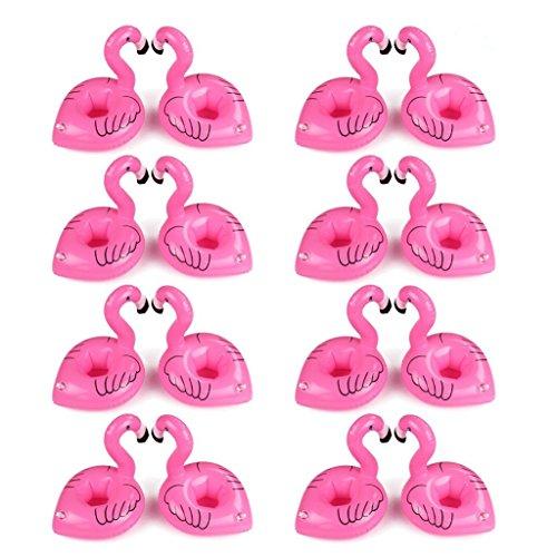 Aufblasbare Getränkehalter,Legends Einhorn Flamingo Palm Island Krapfen Frucht Cartoon Aufblasbares Flaschenhalter Badespielzeug Pool Untersetzer für Bier Getränke Saft (16 Stück-Flamingo)