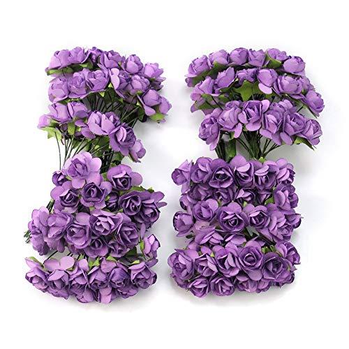 Ogquaton 144 stück Mini Künstliche Papier Rose Blume Künstliche Pflanze DIY Chic Hochzeitskarte Dekoration Handwerk Neu Freigegeben