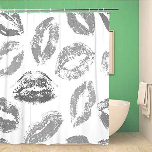 Awowee Decor duschdraperi, röda abstrakta bitar, läpparafferi, vacker skönhet, kosmetika, 180 x 180 cm, polyestertyg, vattentät, baddraperiset med krokar för badrum