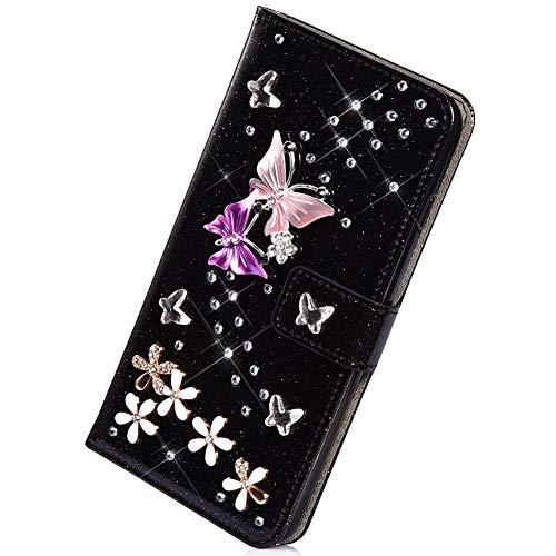 Herbests Kompatibel mit iPhone 6S Plus 5.5 Hülle Leder Handyhülle Diamant Bling Strass Glitzer Schmetterling Blumen Muster Leder Tasche Flip Cover Case Klapphülle Schutzhülle,Schwarz